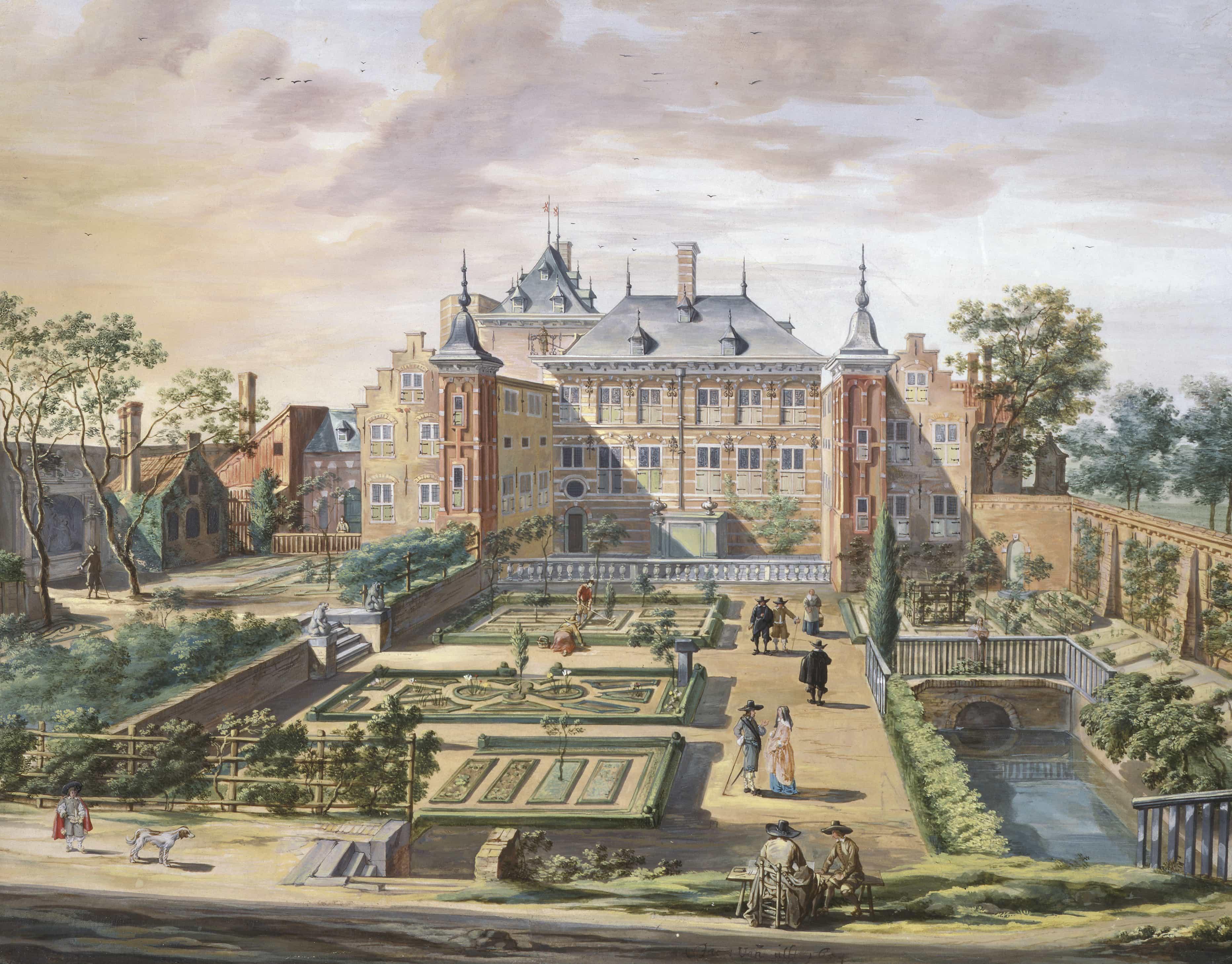 Fantasievoorstelling van het Tolhuis door Jacob van der Ult (1654), The Fitzwilliam collection.