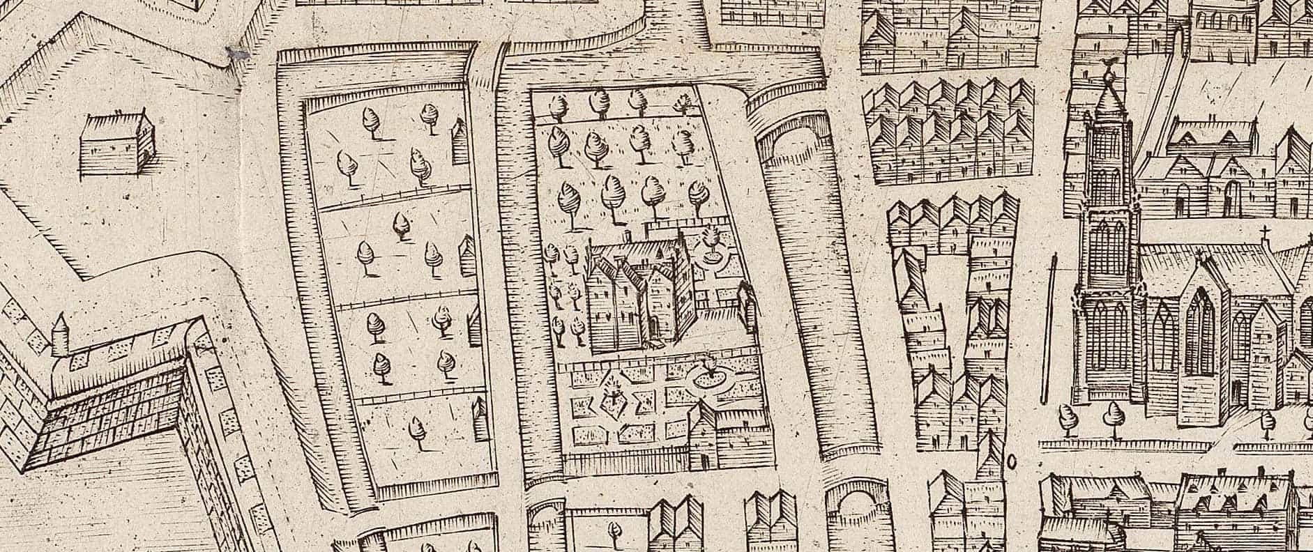 Detail kaart Gorinchem door Nicolaas Wijdtmans (1600)