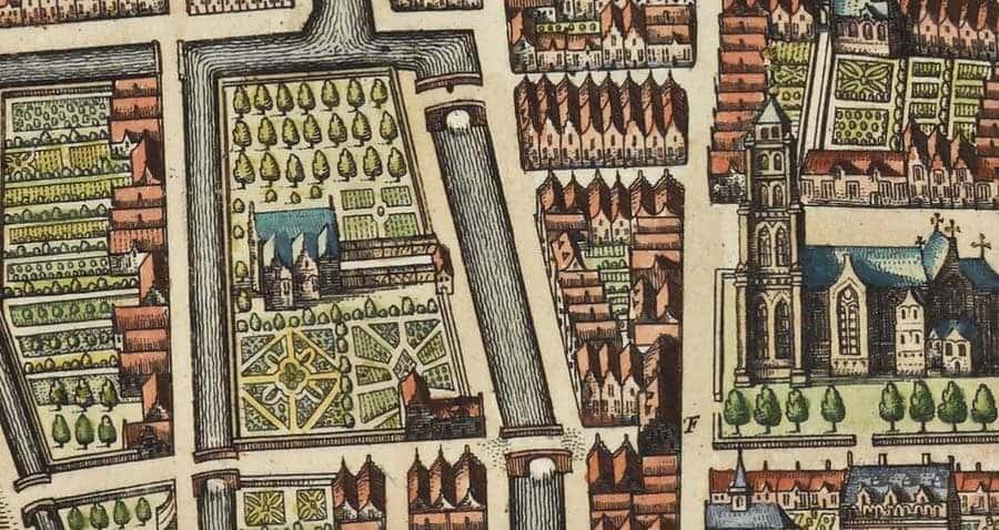 Detail kaart van Gorinchem door Joan Blaeu (1649) met het huis Paffenrode in het midden