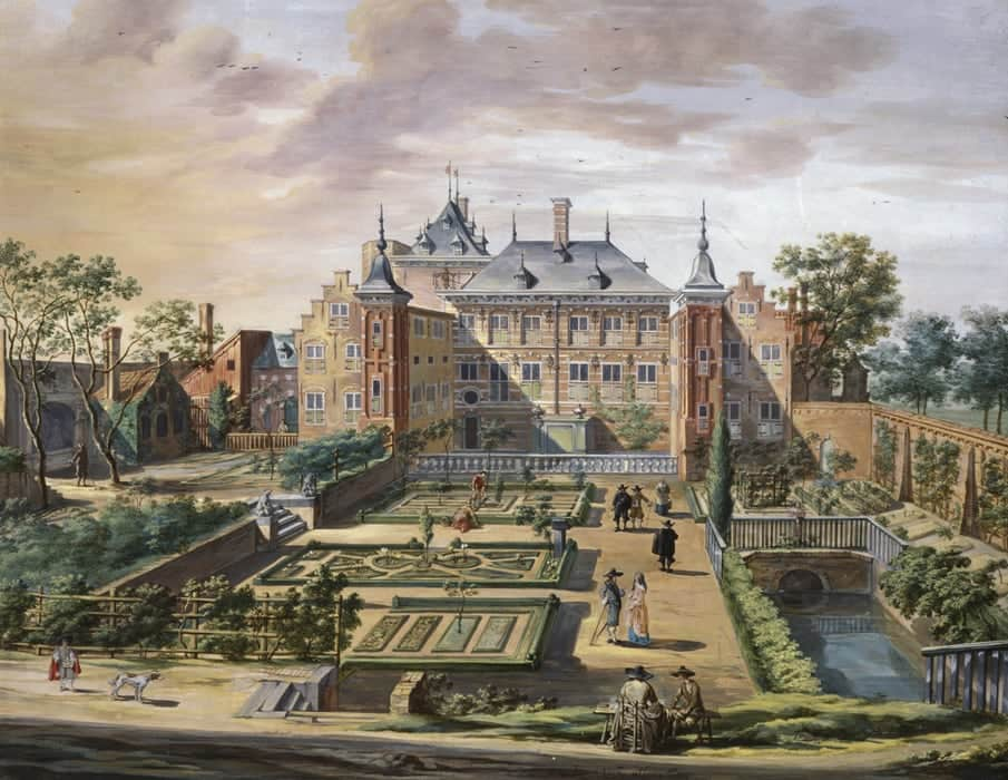 Fantasievoorstelling van het Tolhuis, gouache Jacob van der Ulft 1654, collectie The Fitzwilliam Museum, Cambridge.