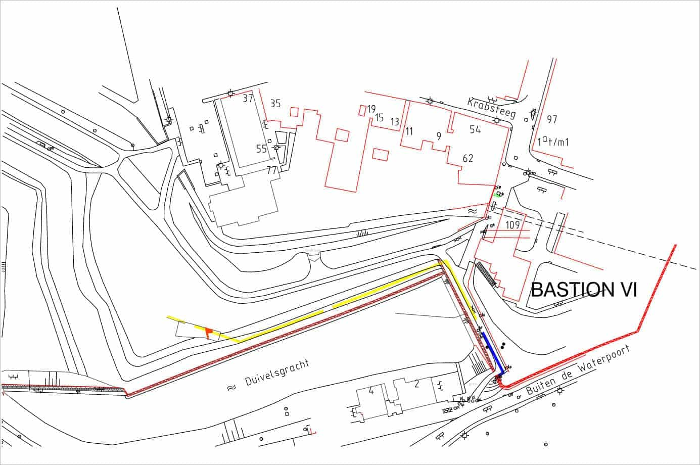 Blauwe Toren Gorinchem Bastions V en VI met de geplande damwand (geel) en de proefsleuf (oranje vlagje)