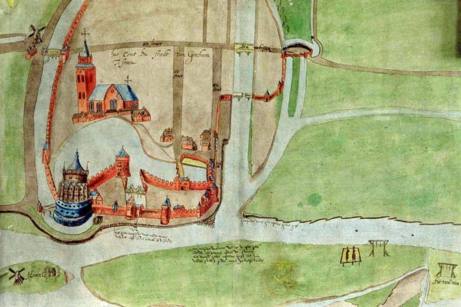 Detailstudie voor een stadsplattegrond van Gorinchem, anoniem (1524-1578), collectie Regionaal Archief Gorinchem
