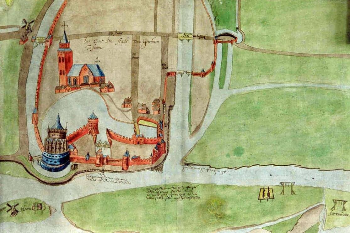 Studie voor een stadsplattegrond van Gorinchem, anoniem (1524-1578) collectie Regionaal Archief Gorinchem