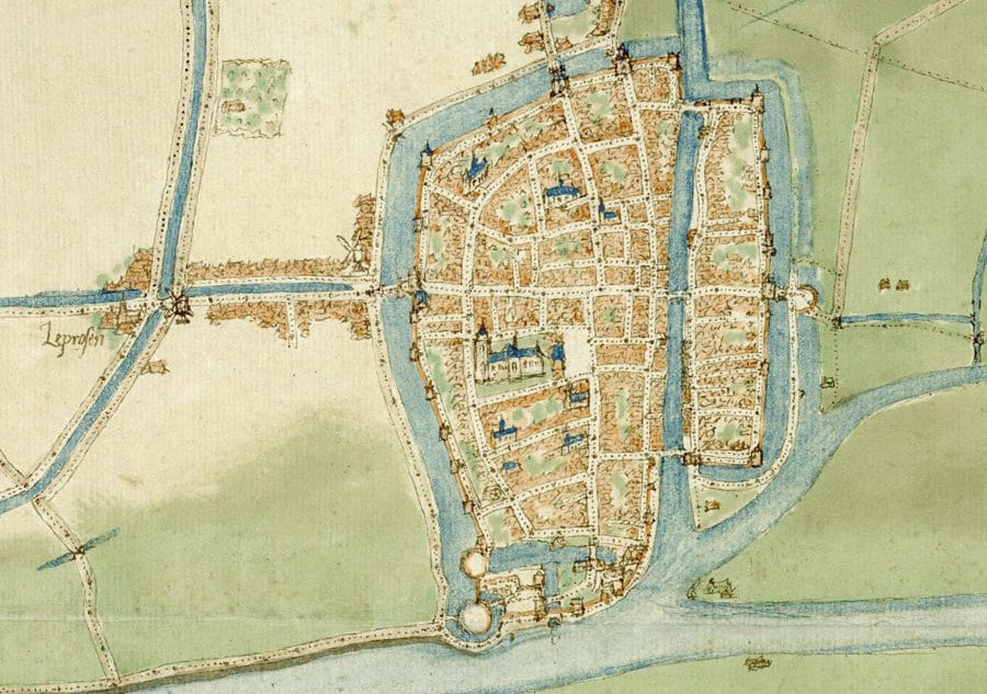 Detail stadsplattegrond, Jacob van Deventer (1558), Nationaal Archief