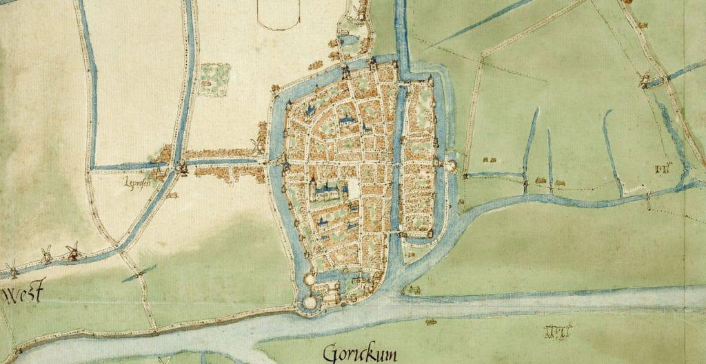 Detail stadsplattegrond Gorinchem, met links onder de Blauwe Toren, Jacob van Deventer (1558) met linksonder de Blauwe Toren, Nationaal Archief , invnr. 1.4-5