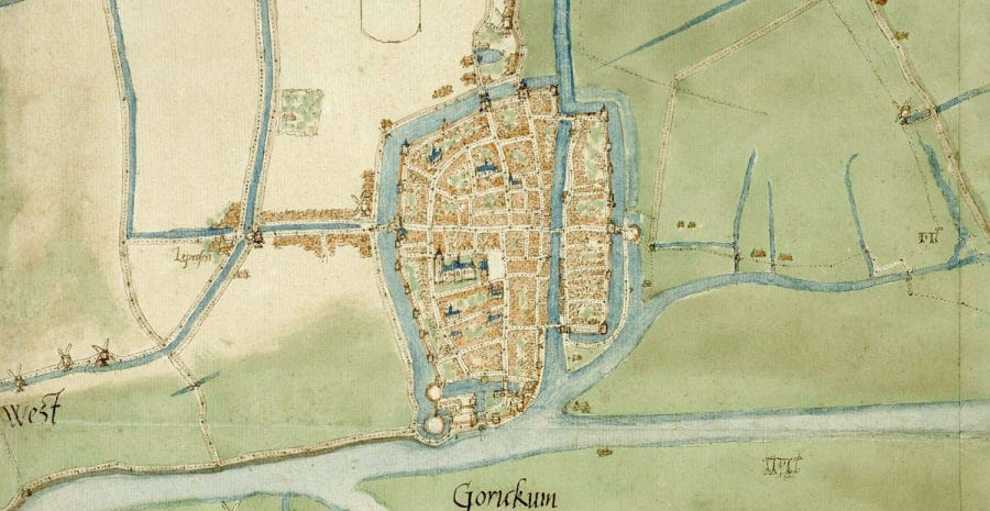 Detail stadsplattegrond Gorinchem door Jacob van Deventer (1558)