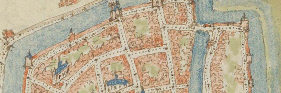 Detail kaart Gorinchem door Jacob van Deventer (1558) met daarop de rosmolen als cirkel gemarkeerd