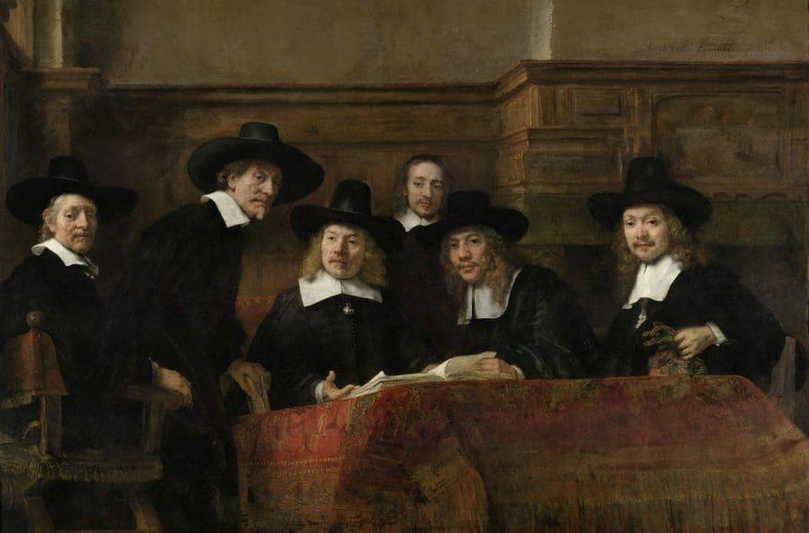 De waardijns van het Amsterdamse lakenbereidersgilde, bekend als 'De Staalmeesters' collectie Rijksmuseum Amsterdam