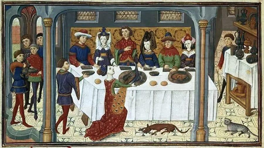 Banket aan het Bourgondische hof, Livre de Conquestes et faits d'Alexandere f.86v., anoniem (voor 1467), collectie Petit Palais, Parijs