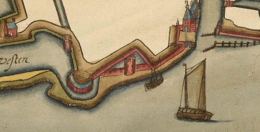Detail kaart Symon en Cornelis Jansz uit 1592, Hingman Collectie Nationaal Archief