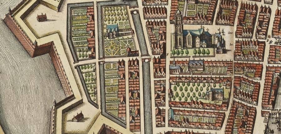 Detail kaart Joan Blaeu omgeving Nieuwstad (1649)