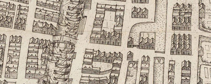 Detail kaart Gorinchem met de Burgstraat door Nicolaas Wijdtmans (ca. 1600)