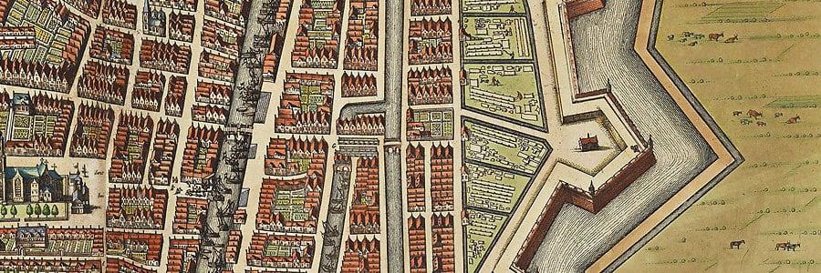 Detail stadsplattegrond Gorinchem door Joan Blaeu (1649), rechts Bastion IX