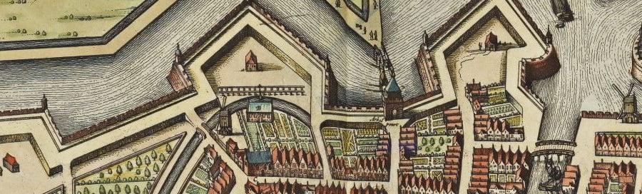 Detail kaart door Joan Blaeu (1652) met het raamwerk op Bastion II