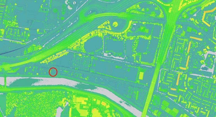 Parallelweg hoogtekaart