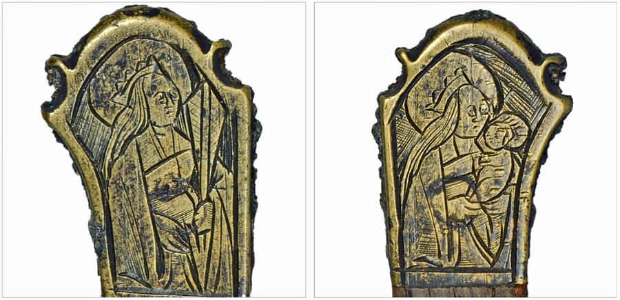 Versierd uiteinde mesheft, Catharina met zwaard en Maria met kind