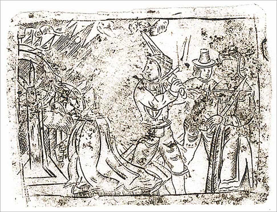 Experimentele afdruk van een etsplaatje gevonden tijdens opgraving aan de Krijtstraat te Gorinchem