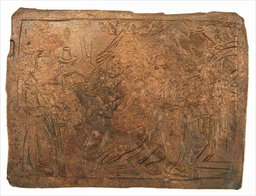 Koperen plaatje met afbeelding heilige Catharina bij het wiel