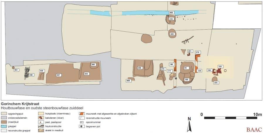 Overzicht van de houtbouwfase op het zuiddeel van het terrein
