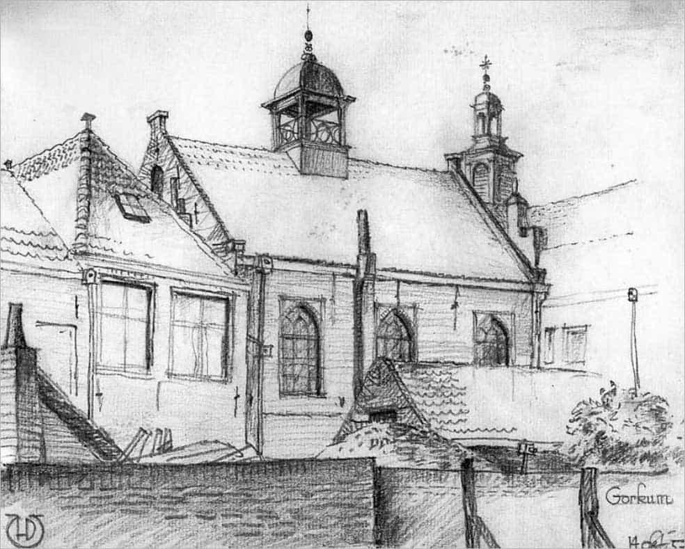 Gorcum op zoek naar oude resten synagoge, achterzijde synagoge Gorinchem 1957