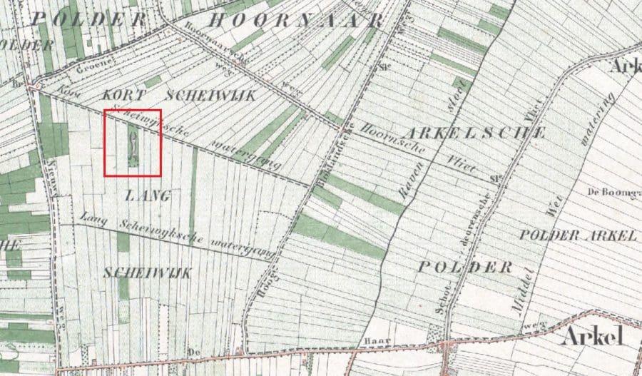 Kooiweg, kadastrale kaart 1874