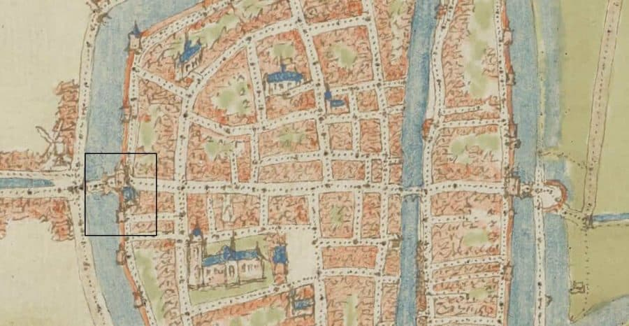 Detail stadsplattegrond door Jacob van Deventer (1558)
