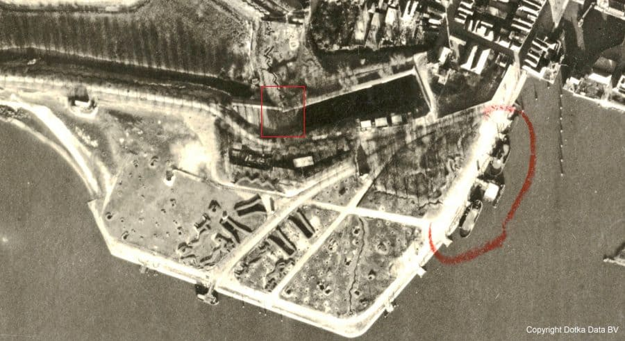 Detail luchtfoto RAF 24 december 1944 11.30u, collectie Wageningen University WOII, © Dotka Data BV