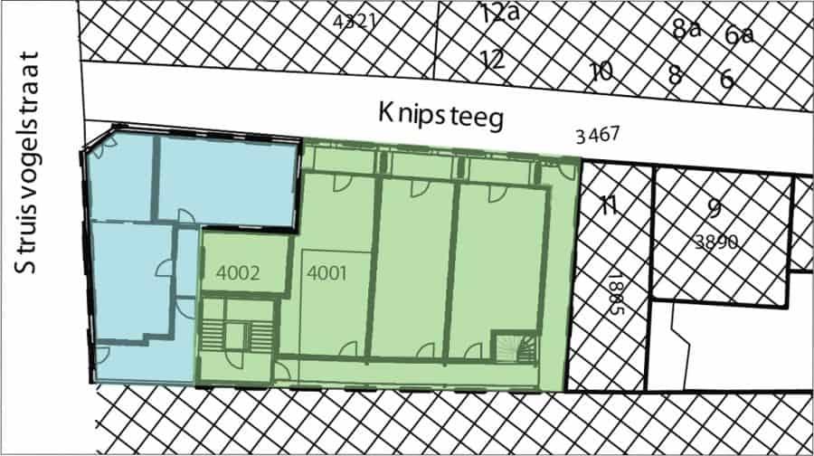 Knipsteeg 13-15 Gorinchem, plantekening van Loosbroek architecten, met daarop geprojecteerd de twee gebieden die in het advies worden onderscheiden
