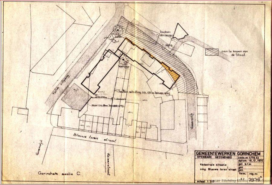 Kadastrale kaart Blauwe Torenstraat (1970)