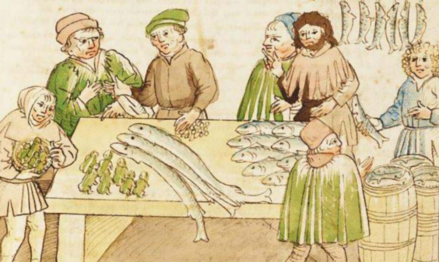 Marktkraam in Konstanz, waar naast de vis ook kikkers worden verkocht, uit Das Konzil zu Konstanz (1414-1418)