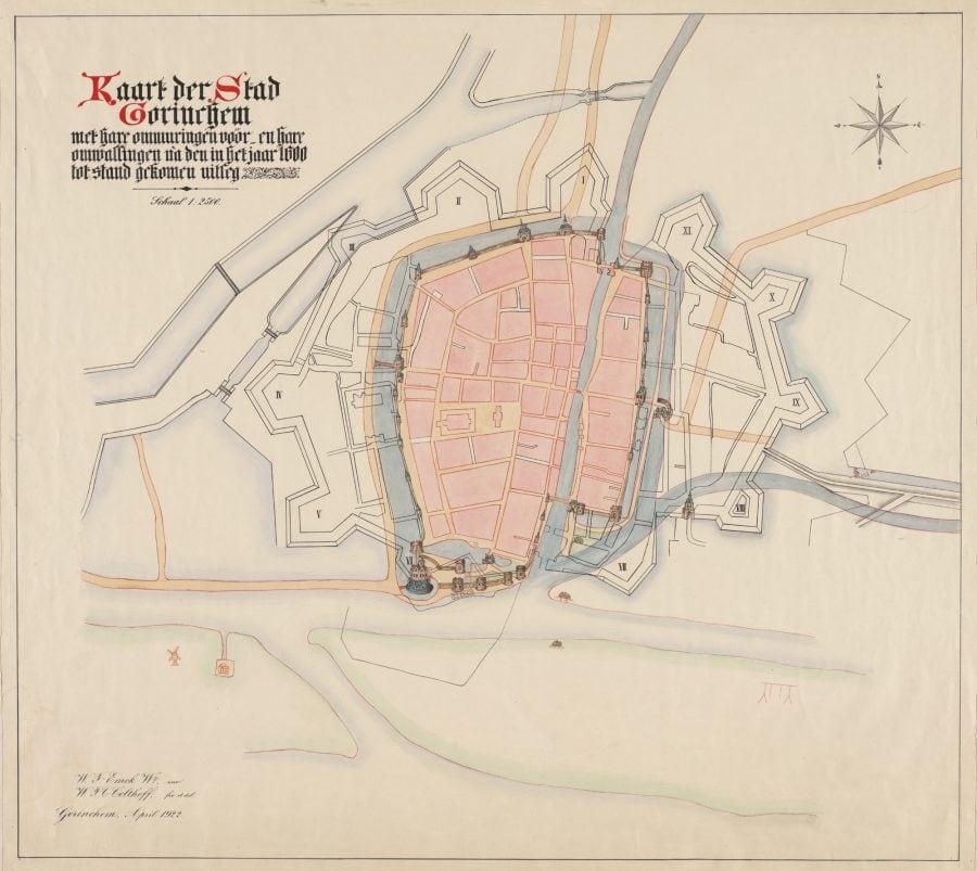 Projectie kaart Van Deventer, op moderne kaart, door W.F. Emck en W.P.C. Colthoff (1922)