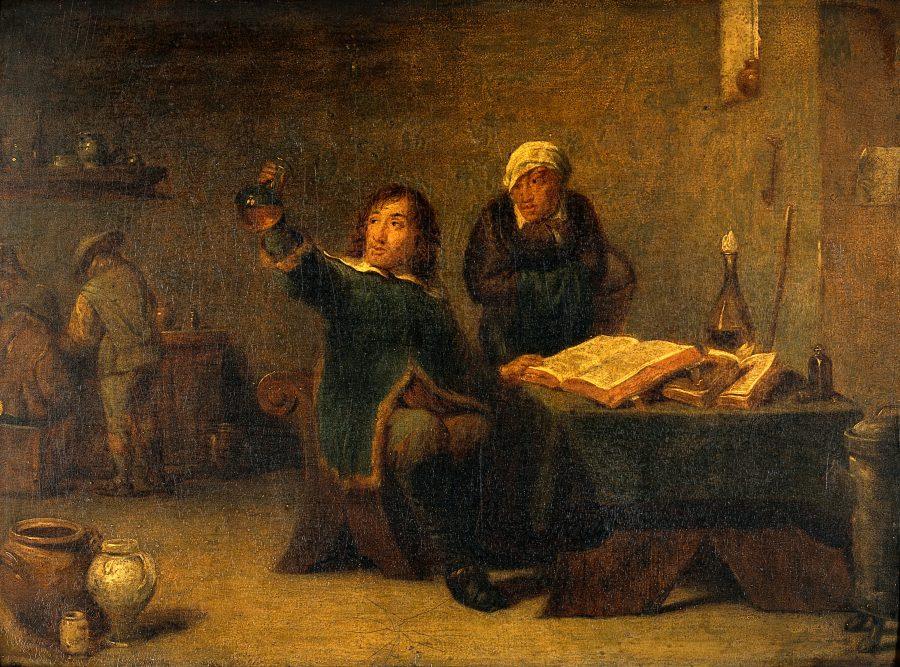 Een arts onderzoekt urine, naar David Teniers de Jonge (1610-1690), Wellcome Library