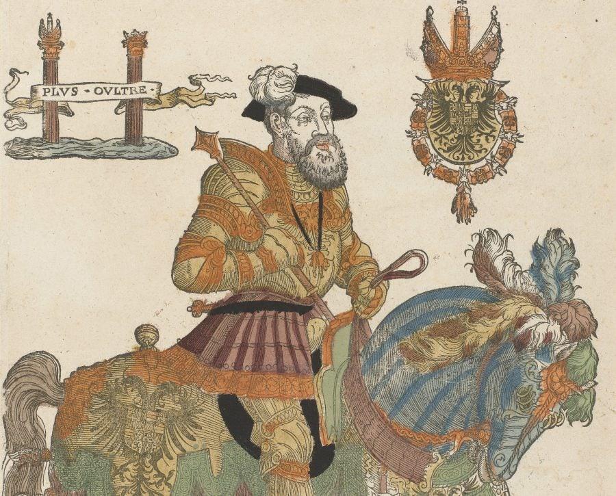 Portret van Karel V te paard, Cornelis Anthonisz. (manier van), 1555 - 1558