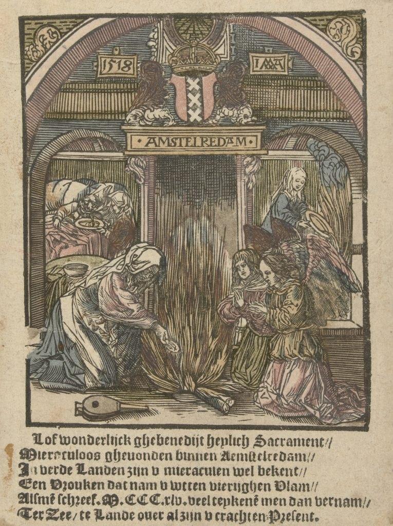 Het hostie wonder van Amsterdam, Jacob Cornelisz. van Oostsanen (1518), coll. Rijksmuseum Amsterdam, inv.nr. RP-P-1877-A-219