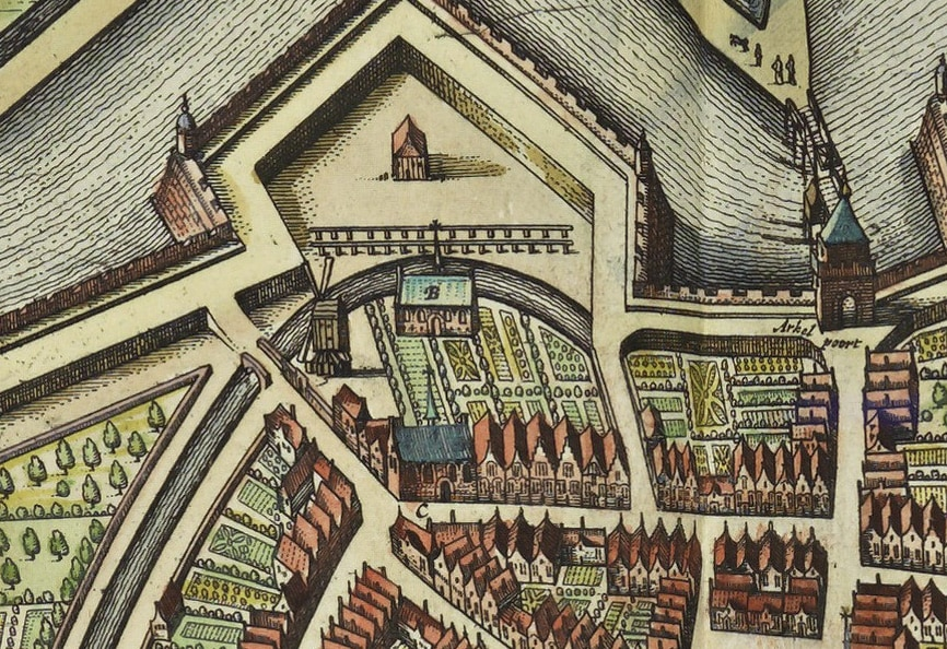 Detail kaart Joan Blaeu (1649) met de kapel van het begijnhof (C), collectie KB Den Haag.