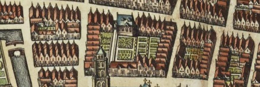 Detail kaart Joan Blaeu met de bebouwing van het gasthuis naast de Gasthuisgang