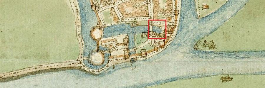 Detail kaart Gorinchem door Jacob van Deventer