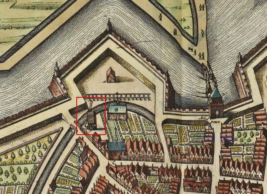 Bagijnenwal Gorinchem, detail kaart Joan Blaeu (1649), collectie Koninklijke Bibliotheek, Den Haag