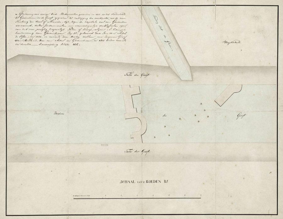 Tekening funderingen kasteel van de heren van Arkel gevonden in 1815