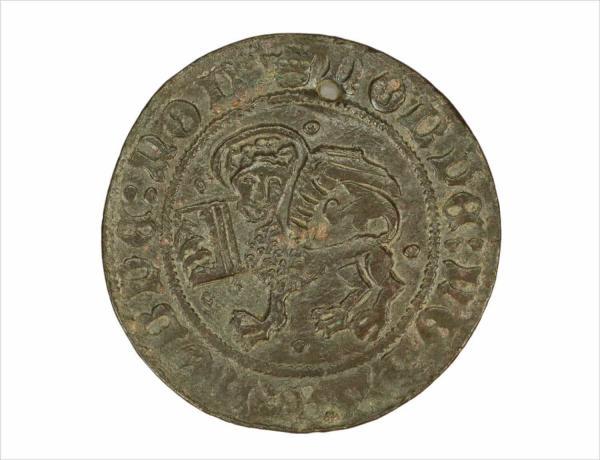 <br>Rekenpenning, met afbeelding leeuw van Sint Marcus, Neurenberg (1500-1570)